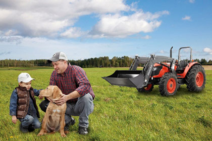 Lifestyle photography on farm for ALO front end loaders