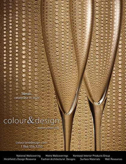 Advertisement design for Colour & Design's Sonzi wall covering in Interior Design Magazine