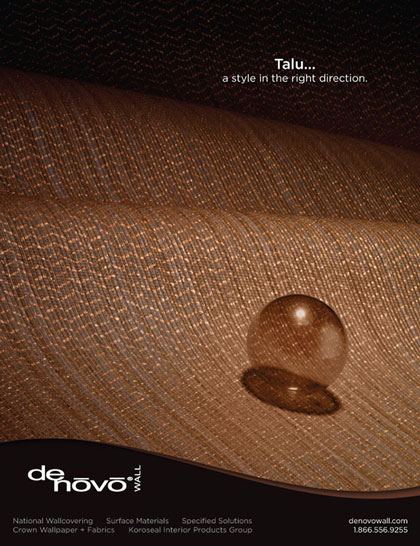 Ad design for Denovo Wall's Talu wall covering in Interior Design Magazine
