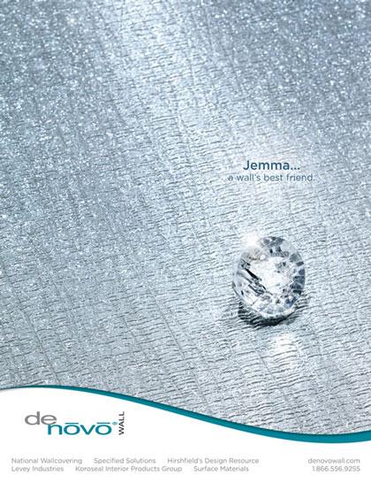 Magazine advertisement design for DeNovo Wall wall covering Jemma
