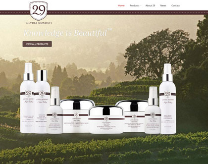 Creative web development for 29 Cosmetics by Lydia Mondavi