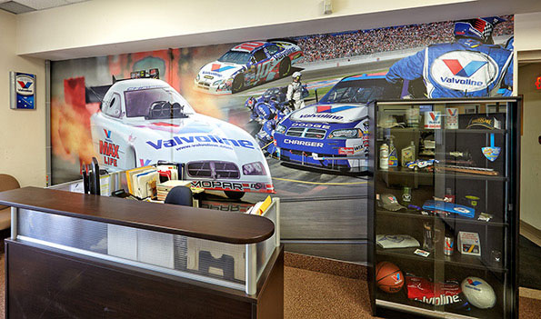 Wall mural design for valvoline reception boardroom bcs for Car wallpaper mural