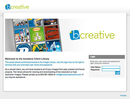 Bcreative online digital asset management library