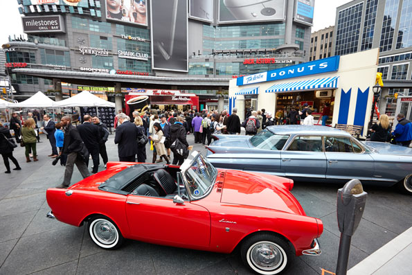 Event photography Tim Hortons 50 celebration Dundas Square replica 1964 restaurant with old vehicles