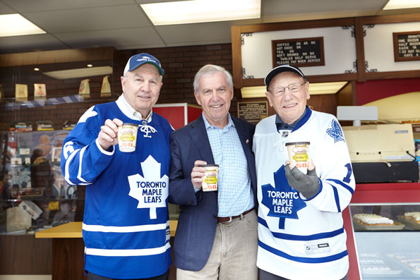 Event photography Tim Hortons 50th Celebration Johnny Bower & Ron Ellis Maple Leafs Yonge-Dundas Square
