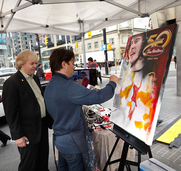 Event Photography Tim Hortons 50th celebration Sidney Crosby painting Yonge-Dundas Square