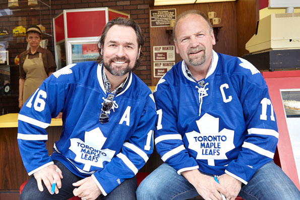 Event photography Tim Hortons 50th Celebration Wendel Clark & Darcy Tucker Maple Leafs Dundas Square