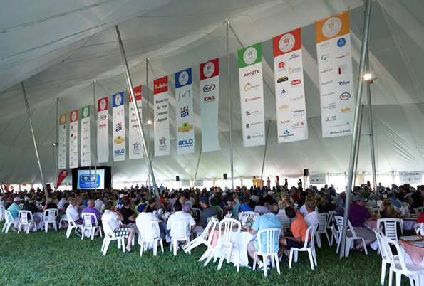 Banner design and event Photography Tim Horton Children's Foundation 38th Golf Invitational partner large vertical tent banners Onondaga Farms