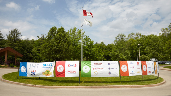 Horizontal banners for Tim Horton Children's Foundation 38th Invitational Golf Tournament partner banners Heron Point golf course