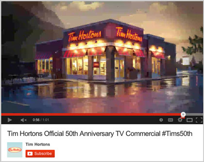 Restaurant photography for Tim Hortons commercial on YouTube