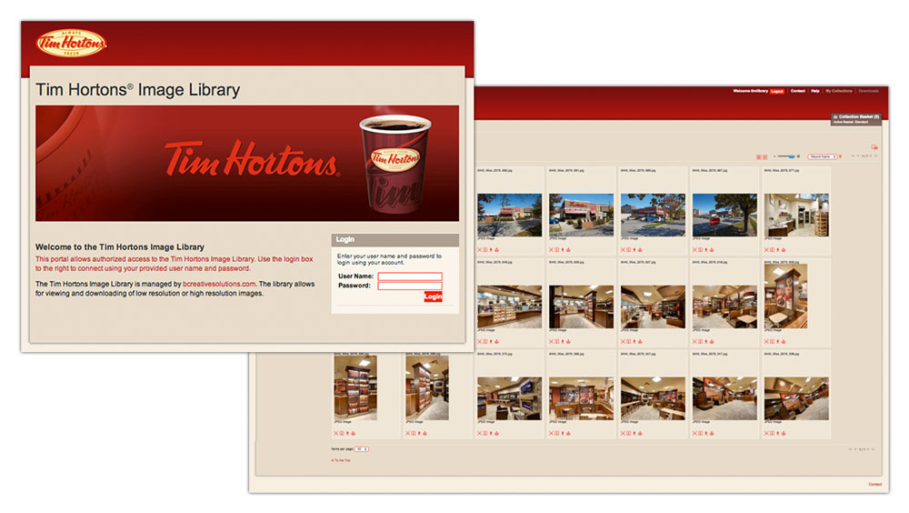 Online image library for Tim Hortons restaurants