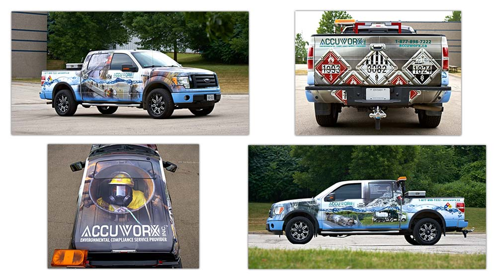 Vehicle art wrap design for Accuworx Ford F-150 Truck