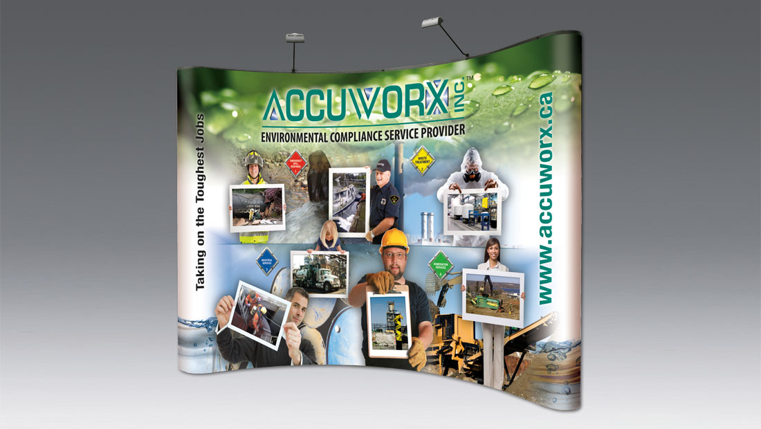 10 foot trade show booth display with podium print and design Hamilton Accuworx