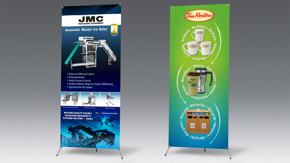 Adjustable X-Banner Stand print and design for Tim Hortons and JMC