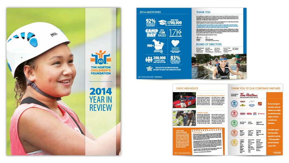Professional annual report design Tim Horton Children's Foundation Year in Review