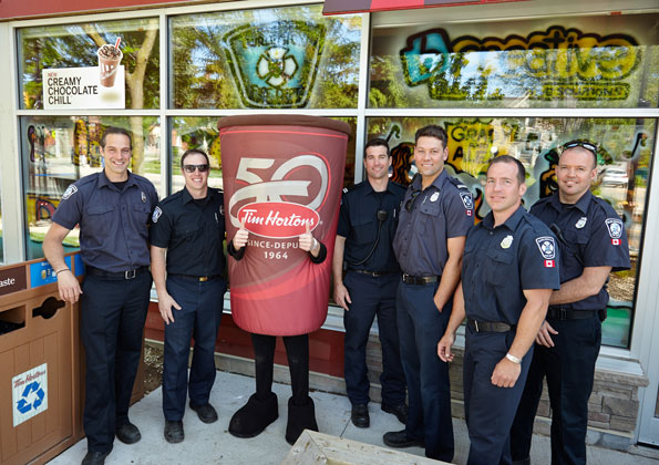 Burlington Fire Department Firefighters at Tim Hortons Camp Day