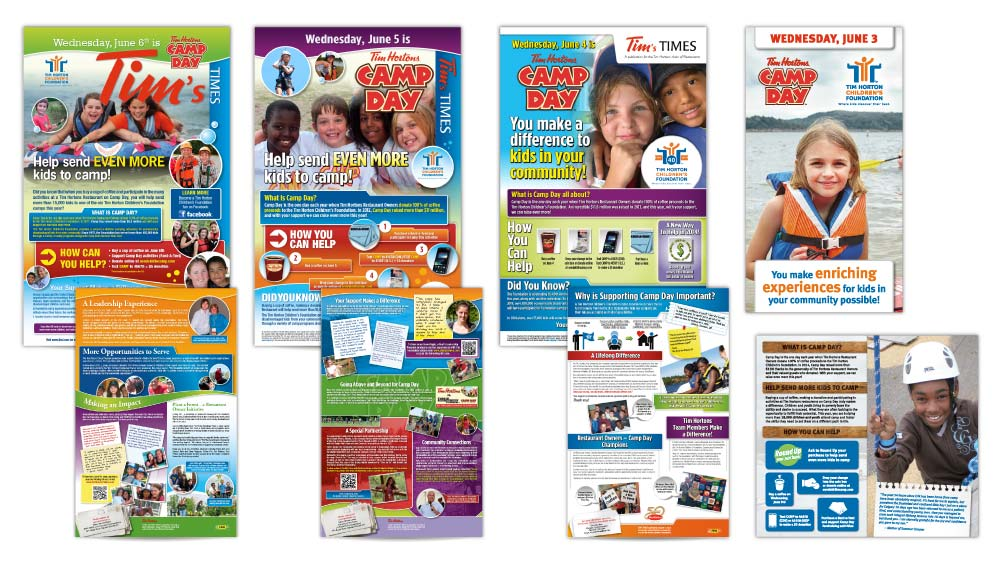 Creative newsletter design in Hamilton for Tim Horton Children's Foundation