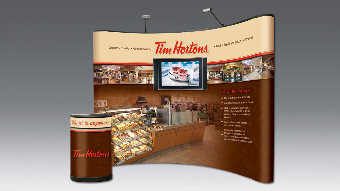 Custom trade show booth display with podium and flat screen tv print and design Toronto Tim Hortons