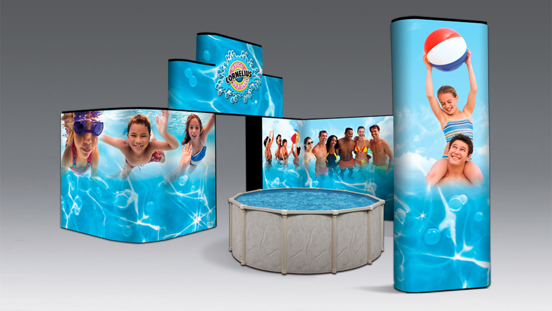Customized trade show booth display print and design pool
