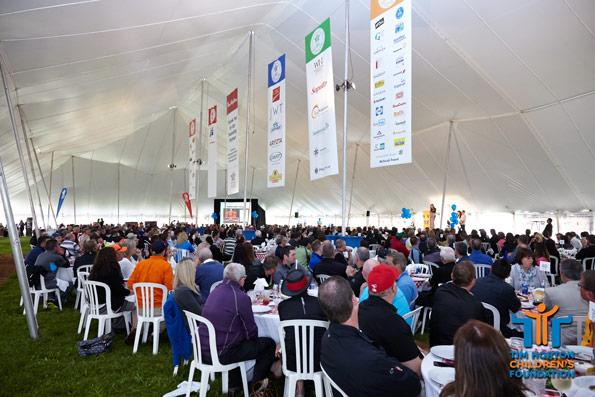 Tim Horton Children's Foundation golf day tent at Onondaga Farms sponsor banners