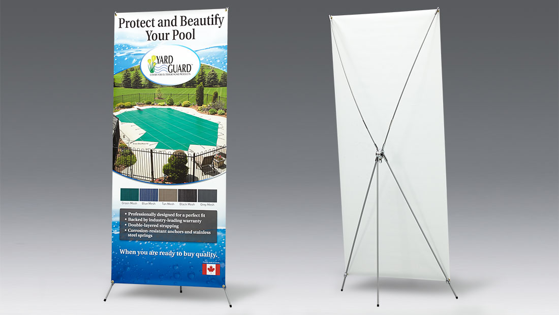 Flexible X Banner Stand print and design tension adjustment for Hinspergers