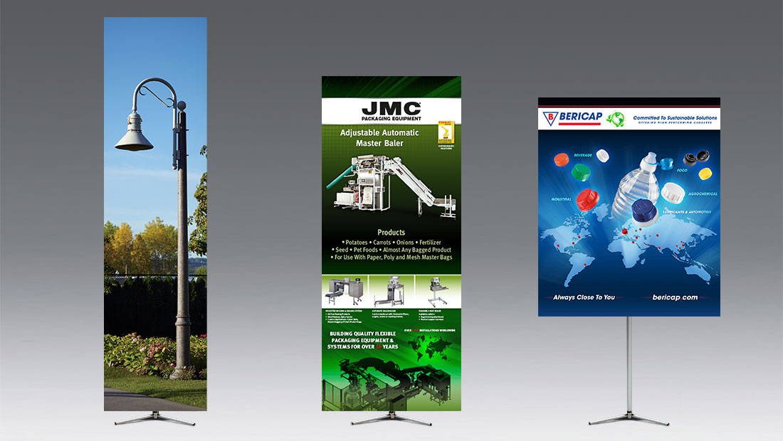Hero adjustable banner stand print and design with multiple size flexibility and creative