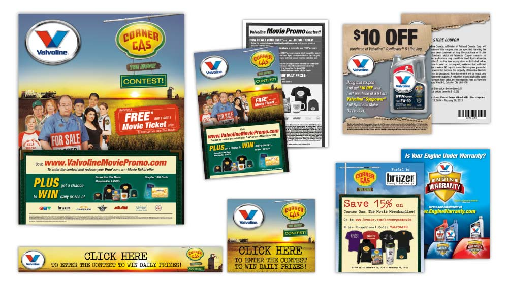 Promotional material design Valvoline Canada and Corner Gas