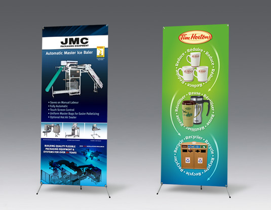 Creative x banner stands print and design for trade shows Tim Hortons and JMC Packaging