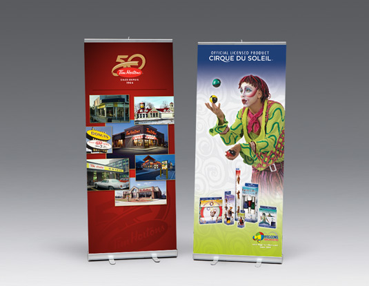 Creative retractable banner stands print and design for trade shows Tim Hortons and Higgins Brothers