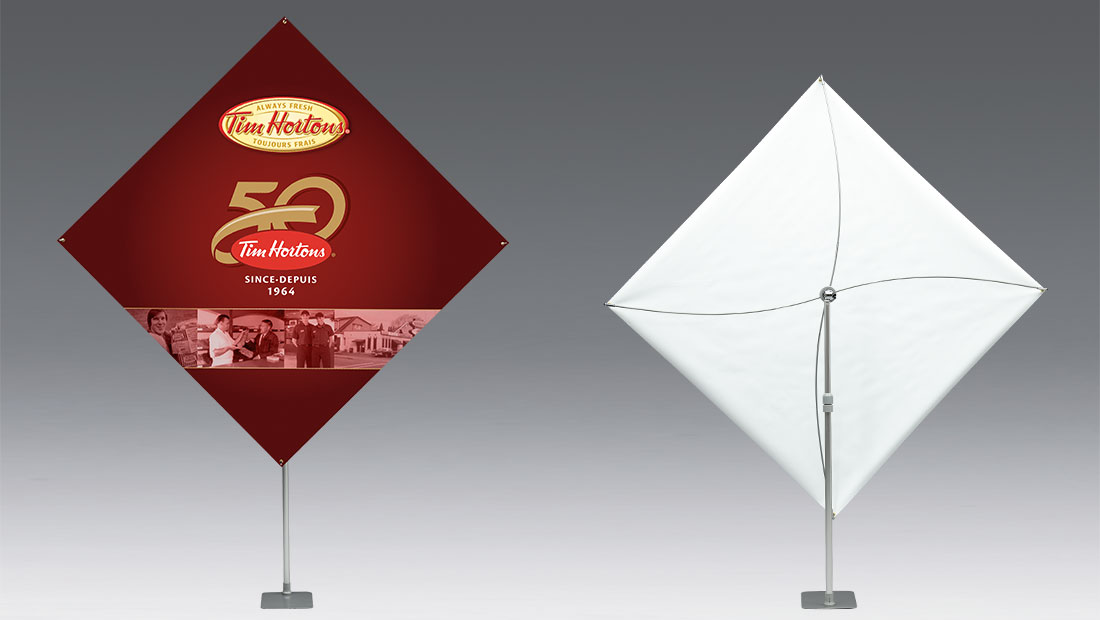 Adjustable versatile banner stand print and design with rotation and tilt function Tim Hortons