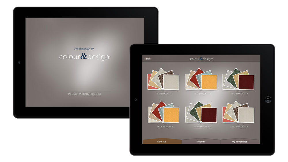 Interactive app development used on tablets for product gallery