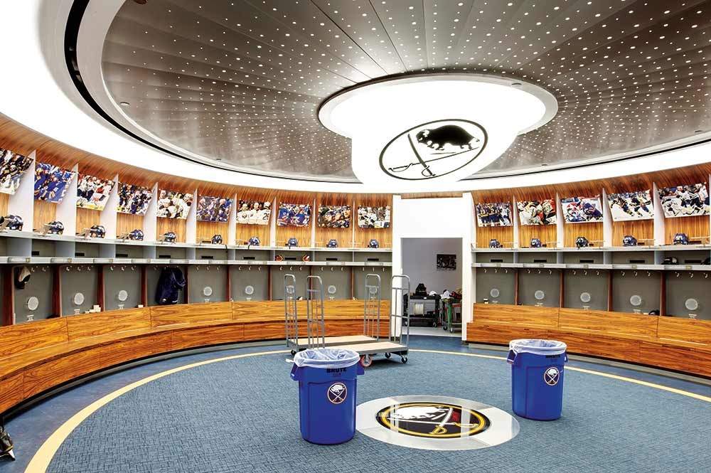Interior photography of Buffalo Sabres locker room for product promotion