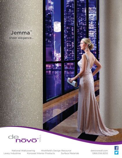Full Page Ad Design and Photography for DeNovo Wall's Jemma™ Wall Covering