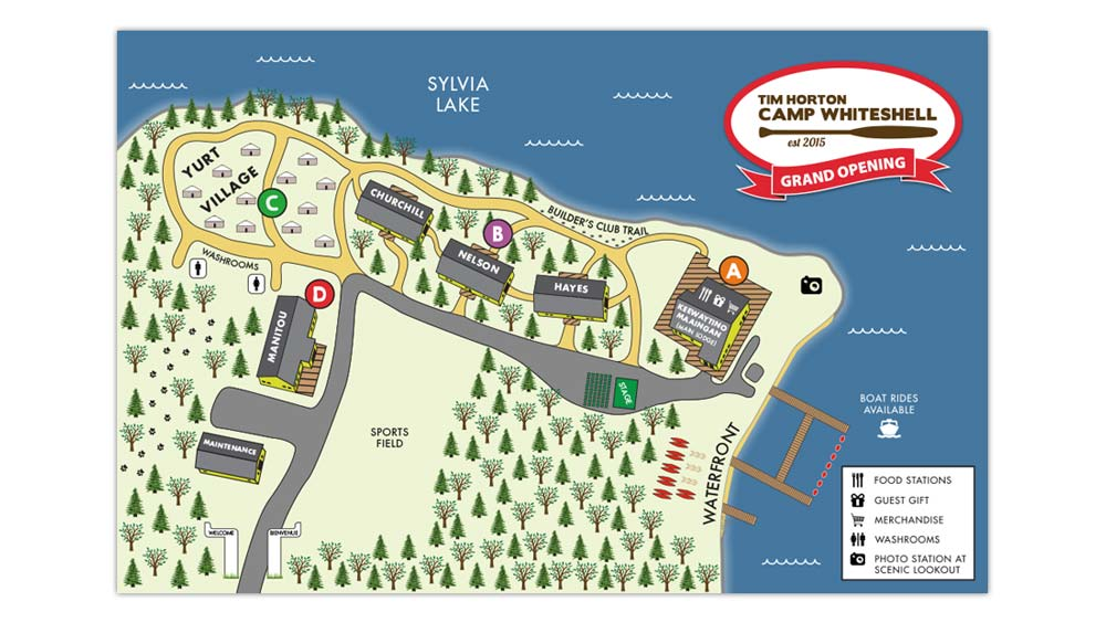 Map illustration for Tim Horton Children's Foundation Camp Whiteshell Grand Opening