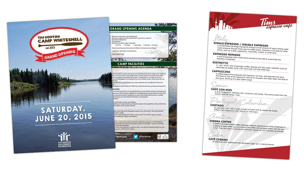 Restaurant menu design and Camp Whiteshell Grand Opening Pamphlet for Tim Hortons and Children's Foundation