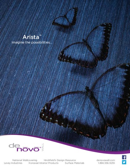 Creative photoshop imaging with butterfly for Arista advertisement for Denovo Wall