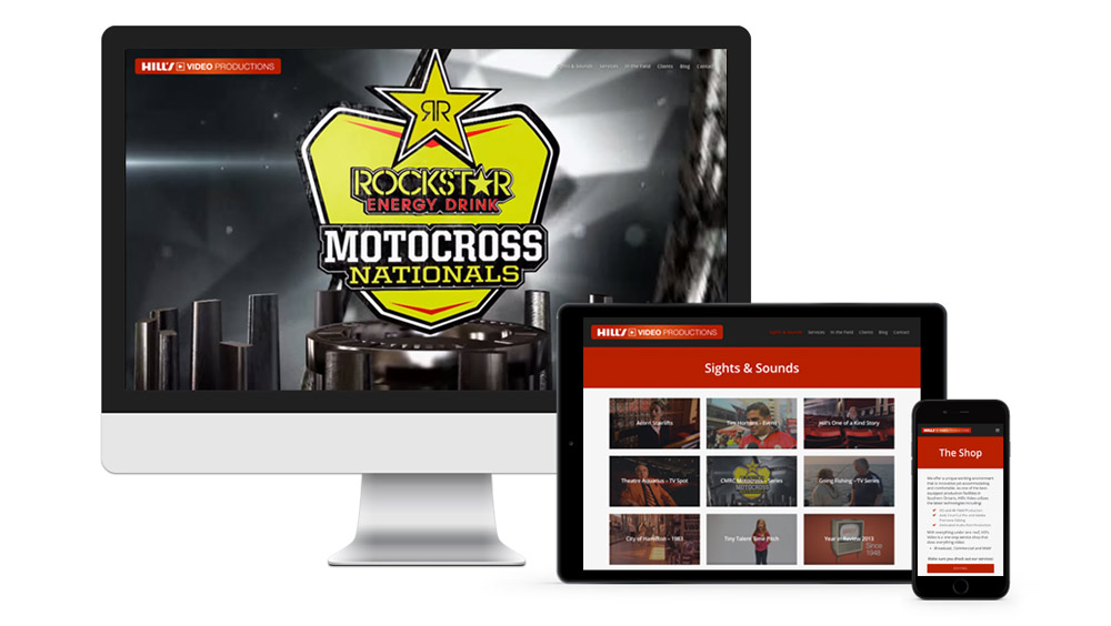 Responsive website video design portfolio for Hill's Video Production