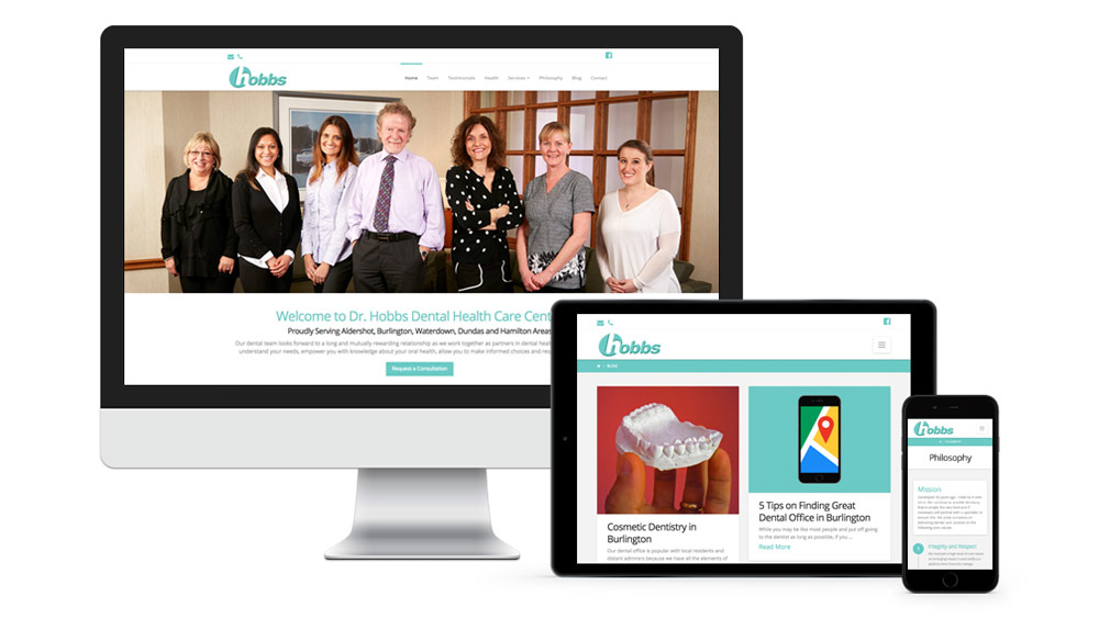 Web design modern and responsive for Dentist Dr. Hobbs